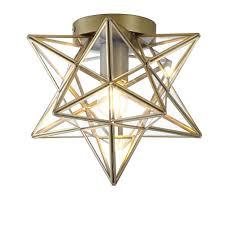 Glass Star Light Jonathan Y Stella 9 75 In 1 Light Gold Moravian Star Metal Glass Led Pendant
