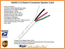 Speaker Wire Length Chart 14 Awg Cl2 Rated 4 Conductor Speaker Cable 14 4 41 Strand 500 Yellow