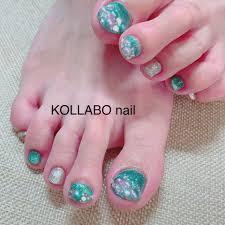 春夏海リゾートラメ Kollabo Nailのネイルデザインno4338066