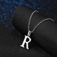 lknspcn981 fashion copper silver plated letter pendant necklaces for boy and girl letter r tvc mall com
