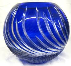 lausitzer german crystal cobalt blue cut to clear hand cut lead crystal ball vase bowl with