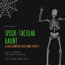 Green And Orange Halloween Costume Party Invitation Templates By Canva