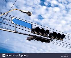 Blank Stop Light Traffic Light And Blue Blank Label Stock Photo 263607782