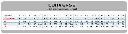 Chuck Taylor All Star Size Chart Chuck Taylor Size Chart