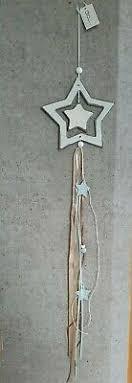 Holz Stern Deko Hänger 13cm Vintage Weihnachten Shabby Tür