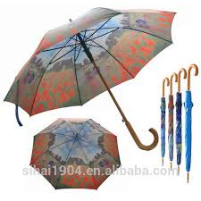 van gogh oil painting full print customized wooden auto open straight long umbrellas with hook handle