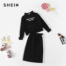 Us 19 99 40 Off Shein Girls Black Letter Print Casual Top And Skirt Two Piece Set Kids Clothing 2019 Spring Long Sleeve Children Clothes Set In