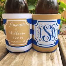 haymarket designs personalized wedding coozies Wedding Wine Koozies tan and blue striped wedding koozies from haymarket designs wedding wine koozies