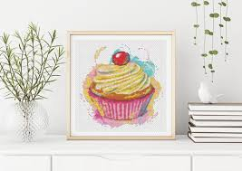 Yummy Cupcake Cross Stitch Pattern Pdf Chartchen Series Food Cross Stitch Chart