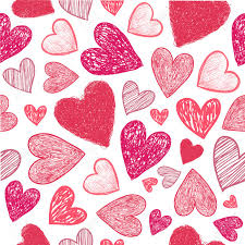Vector Seamless Hand Drawn Doodle Red Hearts Background Valentines