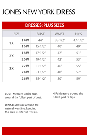 Jones Wear Size Chart