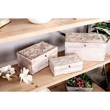 Decorative Wood Boxes With Lids Rectangular Mango Wood Boxes with Whitewashed Carved Butterfly 95