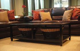 decorating brown leather couches. Modren Decorating Furniture Dark Brown Leather Sofa With Cream And Red Cushions Added By  Rectangle Black Wooden In Decorating Brown Leather Couches O