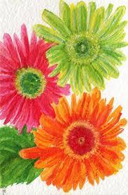 gerbera daisies watercolor painting original 5 x 7 ooak gerbera daisy art hot pink lime green and orange