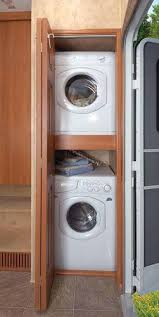 Concealed Stacked Washer And Dryer Transitional Laundry Room ...
