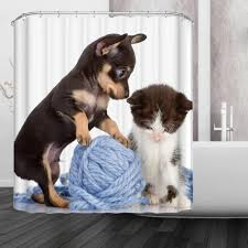 New Polyester Waterproof Bathroom Shower Curtain Dog Cat Design ...