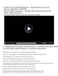 LIG-TV (ae5) CSKA Moskova - Anadolu Efes maçı izle 20-12- 2018 TV ~*JUSTIN  LIG TV CSKA Moskova – Anadolu Efes Maçı Canlı