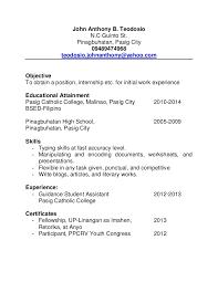 Mga Halimbawa Ng Resume Na Tagalog A Good Resume Example