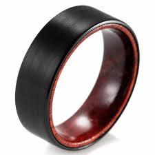 Shardon 8mm Black Tungsten Inner Red Wood Ring With Matte