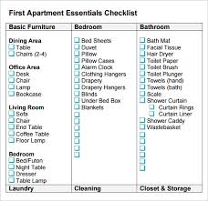 sample new apartment checklist
