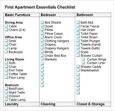 sample new apartment checklist