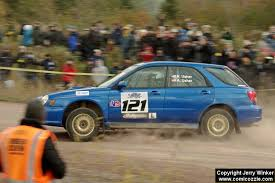 Nate Usher / Aaron Usher Subaru WRX Wagon comes through the SS1 (Green  Acres I) spectator area.