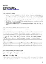 Sample Resume For Storekeeper In Construction Best of CV Of Zafar Khan