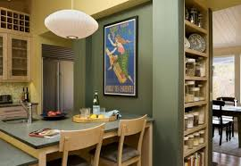Simple Modern Design Inspiration For Your Home : A Dashing Poster Lights Up  The Compact Kitchen