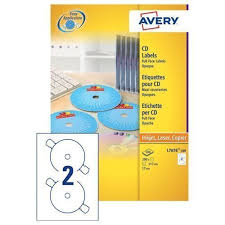 Avery Cd Labels Avery Cd Dvd Labels Laser 2 Per Sheet Dia 117mm Black And White Ref L7676 100 200 Labels