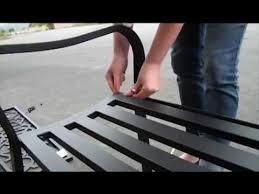 black metal garden bench seat outdoor