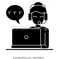Call Center Woman Laptop Headset Icon Vector Illustration Black Sign On Isolated Background
