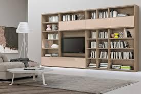 living room bookshelf with tv