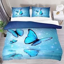 Bettwäsche teenager mädchen / grosshandel teenager madchen. Josid Bettbezug Set Schmetterlinge Auf Wasser 3 Teiliges Bettwasche Set Mit Reissverschluss 2 Kissenbezugen 1 Bettbezug