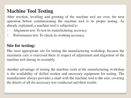 Test Chart For Lathe Machine Installation Testing Of Machine Tools Ppt Download