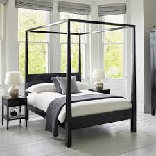 canton black four poster wooden bed