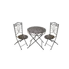 deck wrought iron table. Wrought Iron Deck Table Round Shape And Two High Back Chairs, Cool