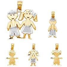 14k two tone gold boy girl charm pendant 5 size available and otsgjz1450 precious metal without stones