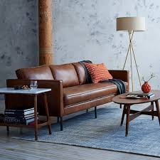 West Elm Living Room Axel Leather Sofa Brown Leather Sofa Future Purchase For Living