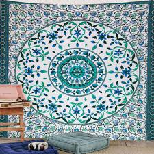 sky blue and dark green king size mandala tapestry wall hanging