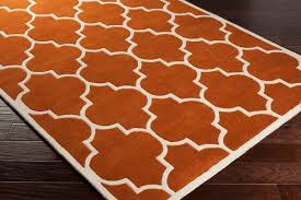 modern orange area rug regarding world menagerie hayes reviews popular pertaining trellis and white decor round