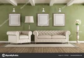 Groene En Witte Klassieke Woonkamer Stockfoto Archideaphoto