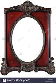 antique frame. Red Antique Frame With Blank Oval Copy Space - Stock Image