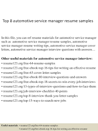 Top 8 automotive service manager resume samples In this file, you can ref  resume materials ...
