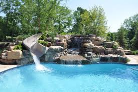 Image Dc Metro Houzz Salt Water Pool Renovation With Water Slide Transitional