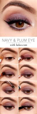 best eyeshadow tutorials navy and plum smokey eyeshadow tutorial easy step by step how