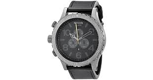nixon 51 30 chronograph stainless steel watch with leather band in black for men lyst
