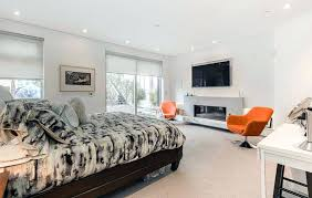 modern master bedroom with fireplace. Fireplaces In Bedrooms Modern Master Bedroom With Gas Fireplace Marble Base Luxury