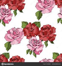 Roze Rode Rozen Gegraveerde Inkt Art Naadloze Achtergrondpatroon