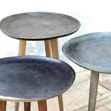 round metal side table small wood top with legs