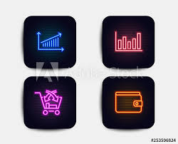 Neon Glow Lights Set Of Column Chart Cross Sell And Chart